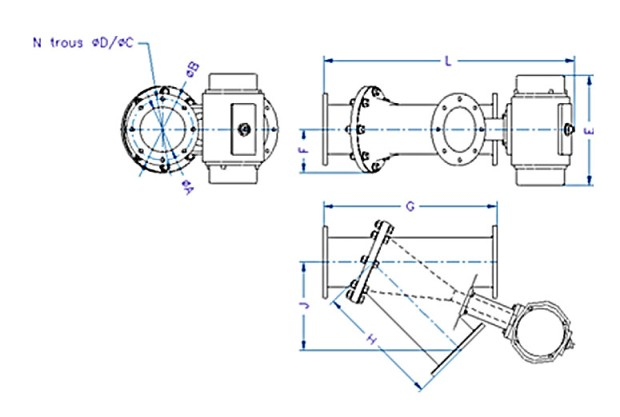 EGRETIER diverter valve technical drawing