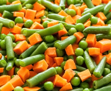 Vegetable mixed disaggregate by the EGRETIER separator crumbler for food industry and collective catering